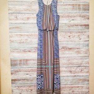Maggie London Dress Blue Floral Maxi Long Size 10